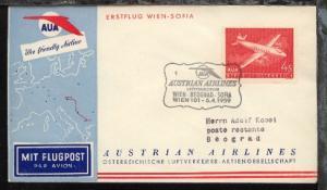 Österreich AUA-Erstflug-Bf. Wien-Belgrad 6.4.1959