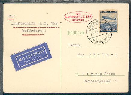 LZ 129 1. Postfahrt PK mit Aufgabe-Stpl. Friedrichshafen + Bestätigungs-Stpl.,  0