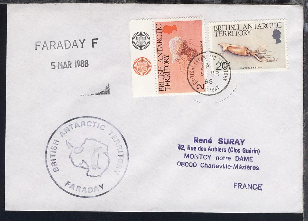 British Antarctic Territory 1988/94 4 verschiedene Belege 1