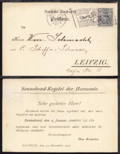 LEIPZIG 13 *A 31.12.01 (Flaggen-Stpl.) auf Orts-PK (gedruckte Einladung)