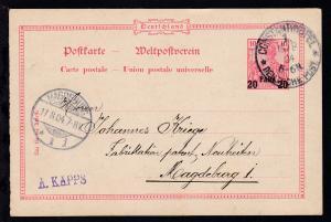 Germania 10 Pfg. mit Aufdruck 20 PARA 20 mit k1 CONSTANTINOPEL 1. DEUTSCHE POST
