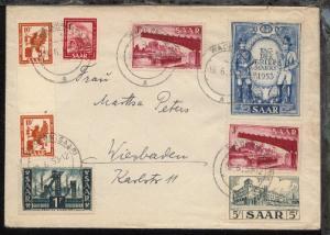 10 Fr. Zwischensteg-Paar, Tag der Briefmarke 1953 + 5 weitere Marken auf Bf.
