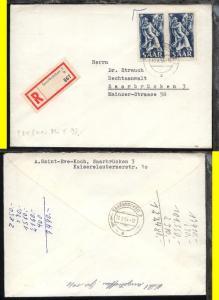25 Fr. waager. Paar auf R-Bf. ab Saarbrücken 10.8.54 nach Saarbrücken