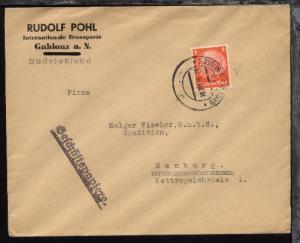 OSt. GABLONZ A.D. NEISSE 1 4b 18.XII.38 auf Firmen-Bf. (Rudolf Pohl, Gablonz)