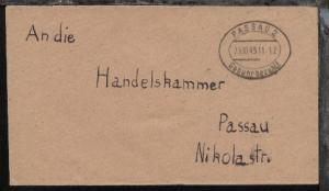 Passau Oval-Stpl. PASSAU 2 Gebühr bezahlt 25.10.45 auf Bf.