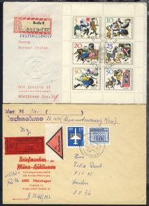 1950/90 22 R-Belege + 1 Eilbrief mit diversen Frankaturen
