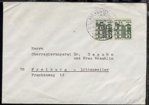 Bauwerke 15 Pfg. waager. Paar auf Bf. ab Bad Meinberg 24.4.66 nach Freiburg