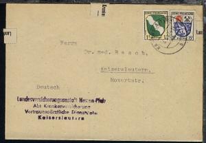 Wappen 1 Pfg. und  15 Pfg. auf Brief der Landesversicherungsanstalt