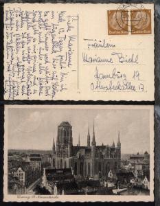 Danzig OSt. DANZIG 5 g 28.4.41 auf AK (Danzig St. Marienkirche)