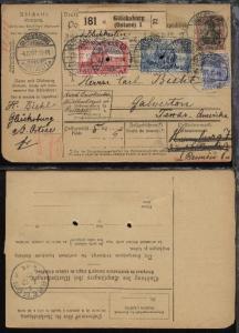 Germania 20 Pfg., 50 Pfg., 1 Mark und 2 Mark auf Paketkarte ab Glücksburg
