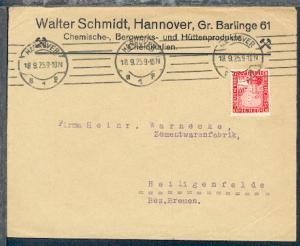 Hannover Maschinen-Stpl. HANNOVER B1p 18.9.25 auf Firmen-Bf.