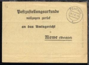 Pelplin OSt. PELPLIN c 15.5.42 auf Postzustellungsurkunde