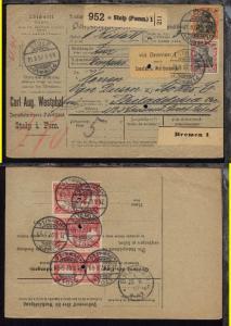 Germania 30 Pfg., 40 Pfg. und 1 Mark (Dreierstreifen) auf Paketkarte der Firma