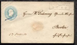 Wolmirstedt R2 WOLMIRSTAEDT 3.10.(1854) auf Preussen-GSU U 9 nach Berlin
