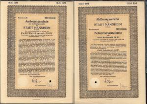 1927 Stadt Mannheim Ablösungsanleihe über 12,50 RM mit anhängendem