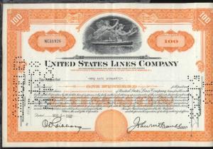 1952 United States Line Company  Aktie über 100 Anteile