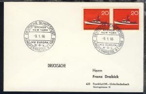 DEUTSCHE SCHIFFSPOST JUNGFERNREISE 9.1.1966 BREMEN NEW YORK MS EUROPA NDL