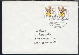 HANNOVER-BREMEN BAHNPOST ZUG 00787 10.4.89 auf Brief
