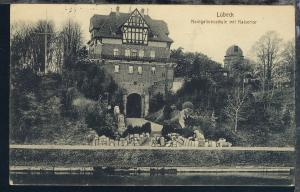 Lübeck Navigationsschule mit Kaisertor, 1914