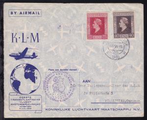 KLM-Erstflug-Brief Amsterdam-Curacoa 6. Juni 1946,