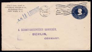 L1 S/S LA LORRAINE auf Brief ab New York OCT 23 1901 nach berlin