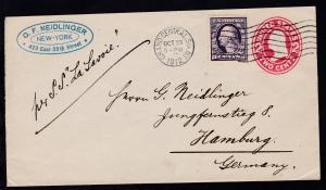 hs Leitvermerk per SS La Savoie auf Brief ab New York OCT 23 1912 nach Hamburg