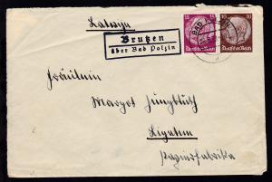 OSt. Bad Polzin 26.8.38 + R2 Brutzen über Bad Polzin auf Brief