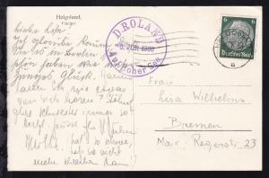 Maschinenstempel Helgoland 6.6.38+ K1 D. ROLAND Auf hoher see 6. JUN. 1938