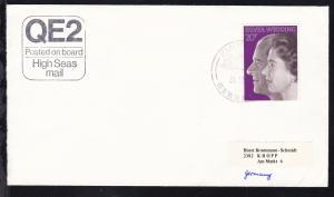 PAQUEBOT GIBRALTAR 31.12.74 + R3 QE2 Posted on Board High Seas mail auf Brief