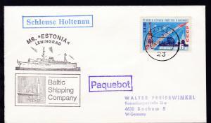 OSt. Kiel 14.8.77 + R1 Paquebot + R1 Schleuse Holtenau +  Cachet MS Estonia