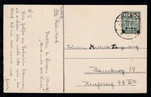 Nothilfe Aufdruck 6 + 4 Rpf. auf Postkarte ab Mellensee 17.3.32 nach Hamburg