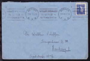 250. Geburtstag von Ludvig Holberg 30 Öre auf Brief ab Bergen 9.III.35