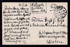 OSt. Berlin 22.2.16 auf Feldpost-AK (Carmen und Leonore Saccetto)