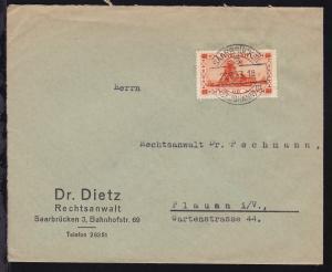 Landschaften 60 C. auf Brief des Rechtsanwalt Dr. Dietz ab Saarbrücken