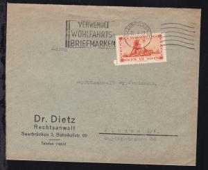 Landschaften 60 C. auf Brief des Rechtsanwalt Dr. Dietz ab Saarbrücken 30.9.33