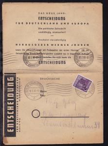 Schwarzaufdruck 6 Pfg. auf Werbe-Drucksache der Zeitschrift