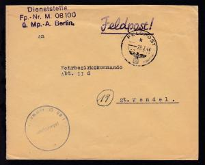 K1 FELDPOST k 29.7.44 + L3 Dienststelle Fp.-Nr. M 08100 ü. Mp.-A. Berlin + K1