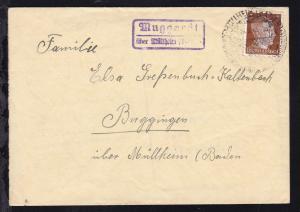 OSt. Mülheim (Baden) 15.6.43 + R2 Muggardt über Mülheim (Baden) auf Brief