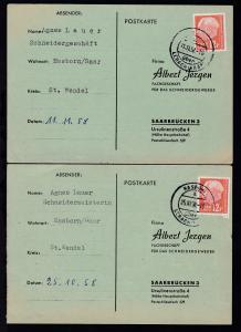 1958 Heuss 12 F je auf 2 Firmenantwort-Postkarten (Albert Jergen, Saarbrücken)