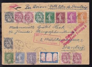 Luftpostbrief ab Paris 15.5.30 nach Danzig mit R3