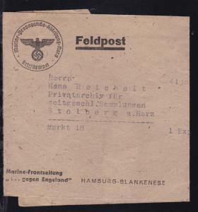 K1 Marine-Propaganda-Abteilung Nord Briefstempel auf Streifband der