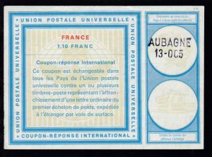Internationaler Antwortschein 1,10 Franc mit L2 AUBAGNE 13- OC5
