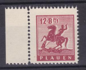 Plauen Wiederaufbau 12 + 8 Pfg. mit Spargummi, Randstück, **