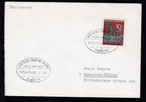KARLSRUHE-FRANKFURT AM MAIN FLUGHAFEN ÜBERLANDPOST a 0750-01/02 4.4.68 auf Brief