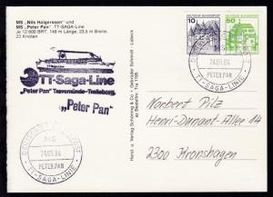 DEUTSCHE SCHIFFSPOST TT-SAGA-LINIE MS PETER PAN 24.09.84 + L1