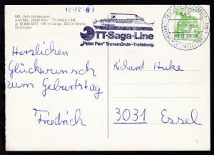 DEUTSCHE SCHIFFSPOST TRAVEMÜNDE-TRELLEBORG-LINIE MS PETER PAN 12.8.81 + Cachet