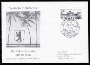DEUTSCHE SCHIFFSPOST MS BERLIN PETER DEILLMANN REEDEREI KARIBIKKREUZFAHRT 8.1.91