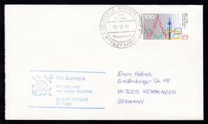 DEUTSCHE SCHIFFSPOST ms Europa Hapag-Lloyd KREUZFAHRTEN 10.10.91 + Cachet
