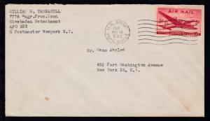 Maschinenstempel U.S. ARMY POSTAL SERVICE 633 MAY 19 194 auf Brief