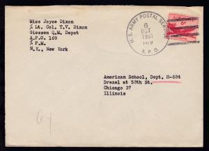U.S. ARMY POSTAL SERVICE 169 6 OCT 1951 auf Brief nach Chicago